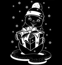 christmas snowman sticker vector image