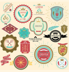 Collection of vintage labels and stamps for design vector image