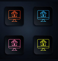 Color neon line computer monitor with smart house vector