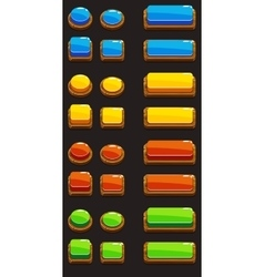 Colors wooden Push Buttons For A Game vector image