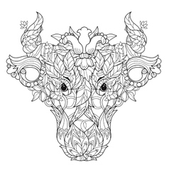 Cow head doodle on white background vector