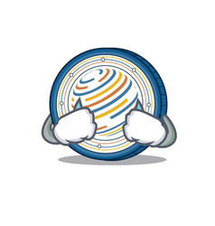 Crying factom coin mascot cartoon vector