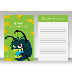 Cute green notebook template with monster vector