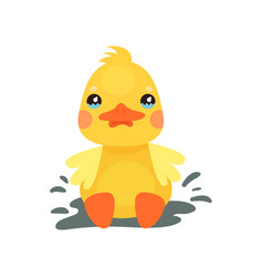 Cute little yellow duck chick character playing in vector