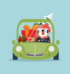 Cute penguin driving green car with gift boxes vector