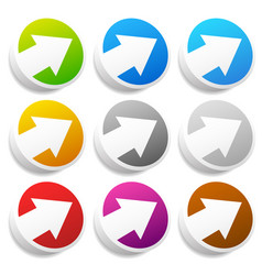 diagonal arrow buttons icons arrows pointing vector image