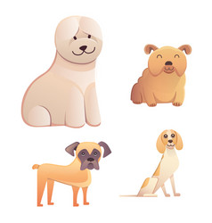 different type of cartoon dogs happy dog set vector image