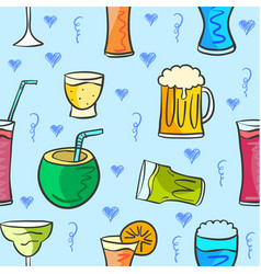 Drink various style pattern collection vector