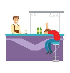 Drunken man asleep at bar counter part of vector