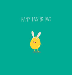 easter yellow egg funny and green for happy easter vector image