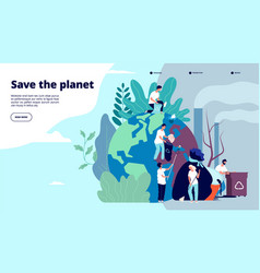 ecology landing page characters cleaning trash vector image