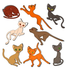 Eight colorful funny cats on a white background vector