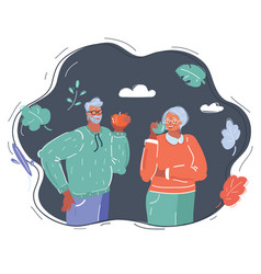 Elderly couple eat apple on dark background vector