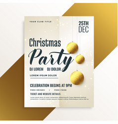 elegant christmas party flyer with golden balls vector image