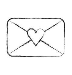 envelope with heart love romantic icon vector image