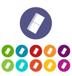 Eraser icons set flat vector