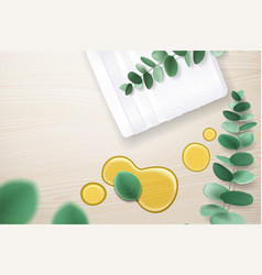 Eucalyptus branch and oil stain with spa towel vector