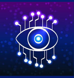 eye with circuit board doodle style vector image