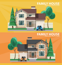 Family house 2 houses car and trees hearth and vector