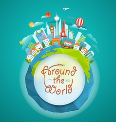 famous signts around world travel concept vector image