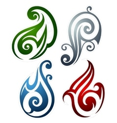 Fire water earth and wind emblems vector image