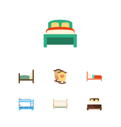 flat bed set of bearings bunk bed cot and other vector image