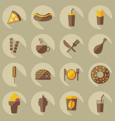 Flat concept set modern design with shadow food vector