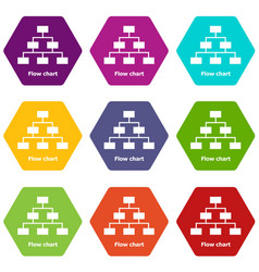 Flow chart icons set 9 vector
