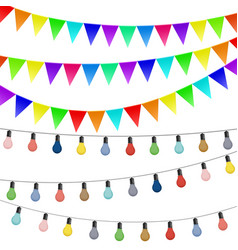 garlands flags and colored lamps decorations vector image