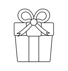 Gift box with ribbon bow icon image vector