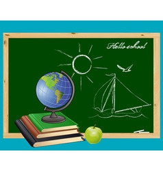globe books and green apple on the background of t vector image
