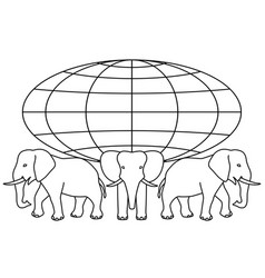 globe on elephants vector image