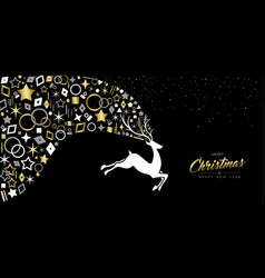 gold christmas and new year deer card decoration vector image