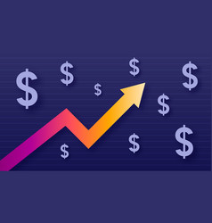 Graph show value growth of dollar modern trendy vector