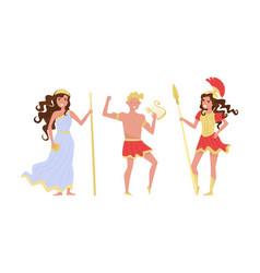 Greek gods isolated on white background set vector