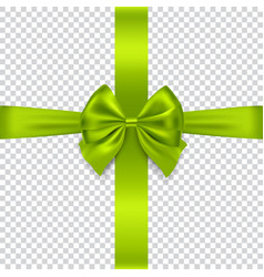 green bow and ribbon on transparent background vector image