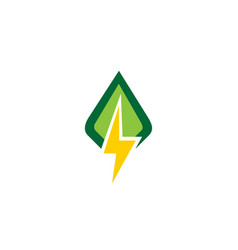 green leaf flash power logo vector image