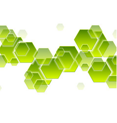 green tech hexagons abstract geometric background vector image