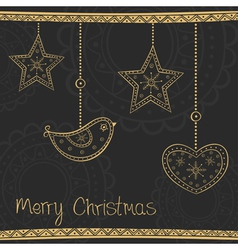 Greeting card with gold Christmas tree decoration vector