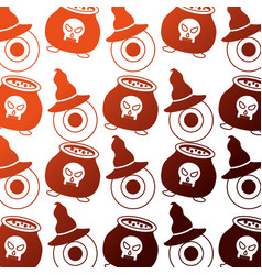 halloween cauldron with eye and hat witch pattern vector image