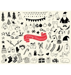 hand draw collection christmas doodle elements vector image