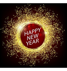 Happy new year 2017 with gold background vector image