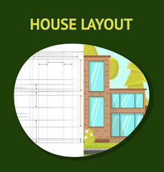 House layout flat banner template vector