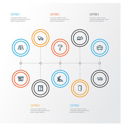 Industry outline icons set collection of wall vector