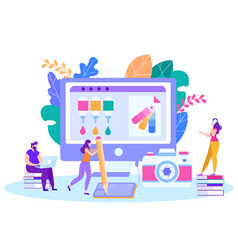 interactive lessons remotely vector image