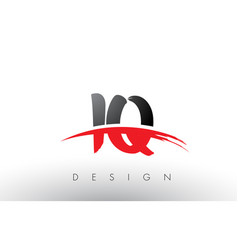 Iq i q brush logo letters with red and black vector
