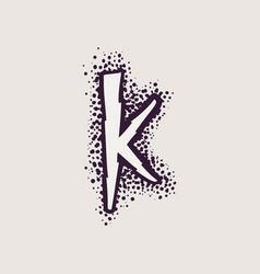 Letter k rune logo on dots background vector