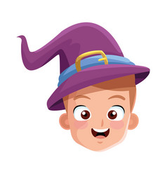 Little boy with magician costume head character vector