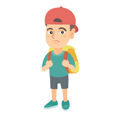 Little caucasian sad schoolboy carrying a backpack vector