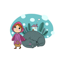 little red riding hood fairy tale little cute vector image